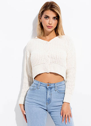 Short And Sweet Cropped Knit Cardigan