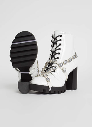 Mood Faux Patent Jewel Strap Booties