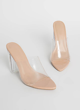 It's So Clear Chunky Illusion Mule Heels