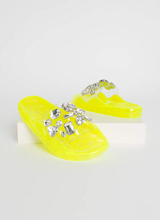 Clear Contender Jeweled Slide Sandals