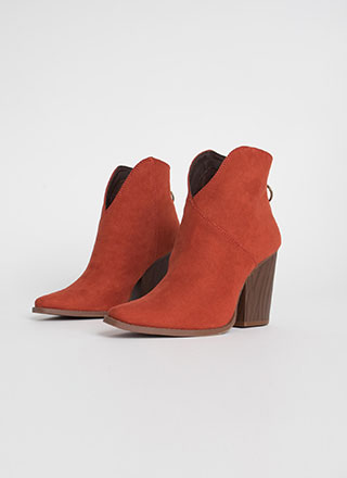 Cowgirl Chic Notched Block Heel Booties