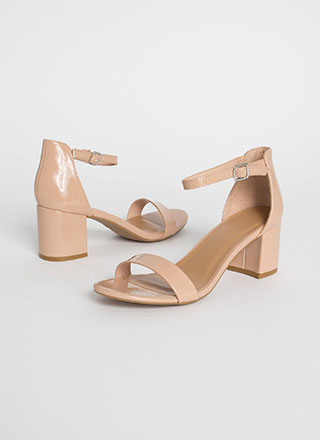 Up My Alley Faux Patent Block Heels