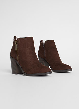 All I Want Chunky Faux Suede Booties