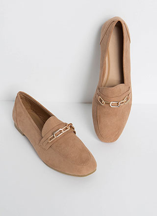 Link Twice Chained Loafer Flats