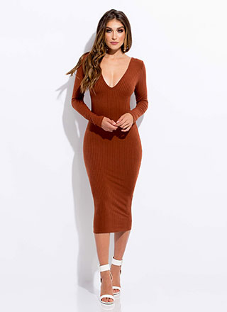 In Too Deep-V Rib Knit Midi Dress