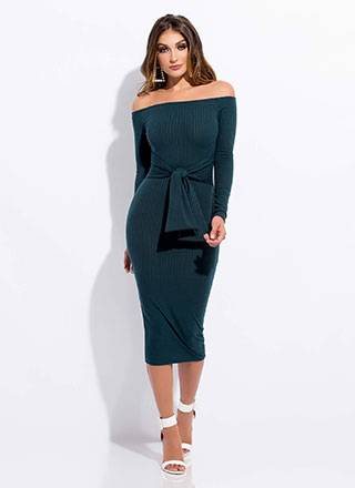 Tie Again Off-Shoulder Midi Dress