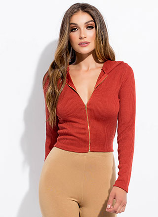 Out And About Zip-Front Hoodie Top