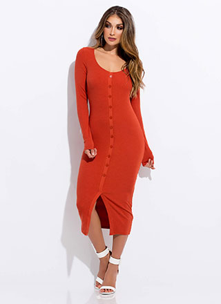Casual Acquaintance Slit Button Dress