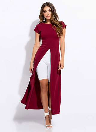Split Personality Slit Maxi-Length Top