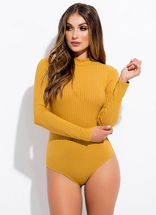 Wanted Ribbed Mockneck Bodysuit