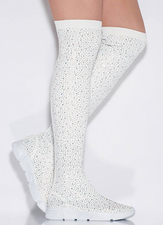Galaxy Jeweled Thigh-High Sneaker Boots
