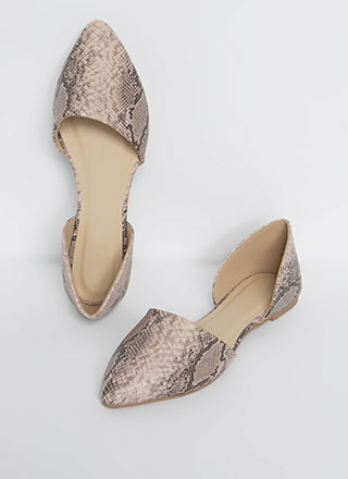 Living In Snake Print D'Orsay Flats
