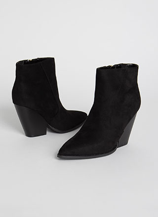 Slippery Slope Pointy Block Heel Booties