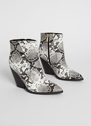 Slippery Slope Block Heel Snake Booties