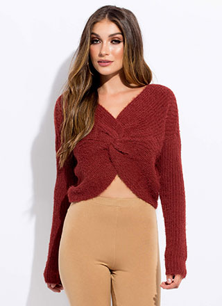 Twist And Turn Fuzzy Knit Sweater