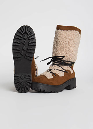 Wild One Laced Faux Shearling Boots
