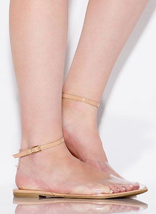 Pedi On Display Clear Ankle Strap Flats