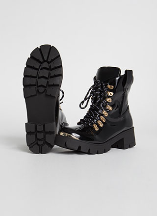You Little Punk Faux Patent Lug Boots