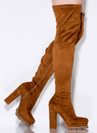 Fall In Lug Chunky Thigh-High Boots