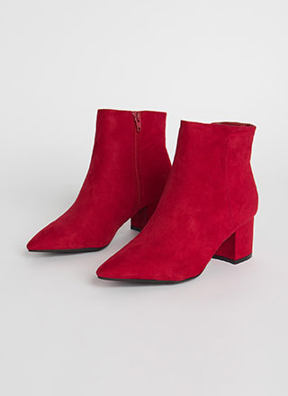 Get Ready Pointy Faux Suede Booties
