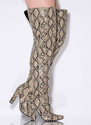 Wide Open Faux Snake Thigh-High Boots