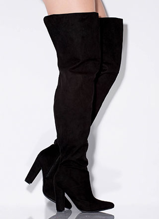 Wide Open Faux Suede Thigh-High Boots