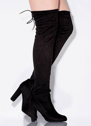 Top This Drawstring Thigh-High Boots