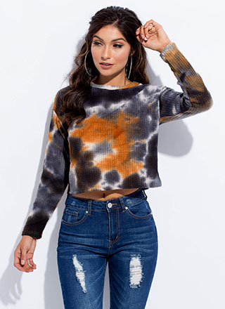 Mix Things Up Waffle Knit Tie-Dye Top