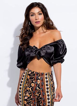 Sexy In Satin Tied Off-Shoulder Crop Top
