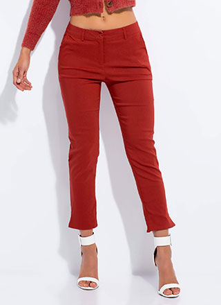 Smarty Pants Cropped Slit Trousers