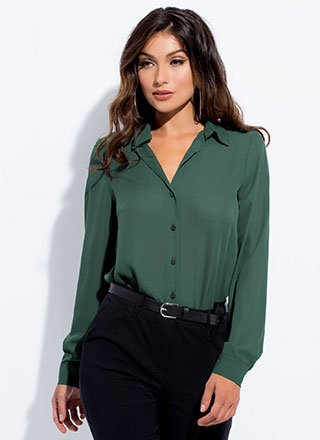 Perfect Semi-Sheer Button-Up Blouse