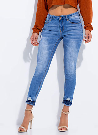 Go To Great Lengths Cut-Off Skinny Jeans