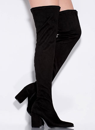 Go Get 'Em Block Heel Thigh-High Boots