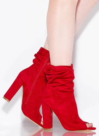 Scrunch Time Slouchy Peep-Toe Booties