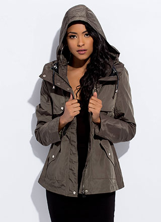 In A Snap Hooded Drawstring Jacket