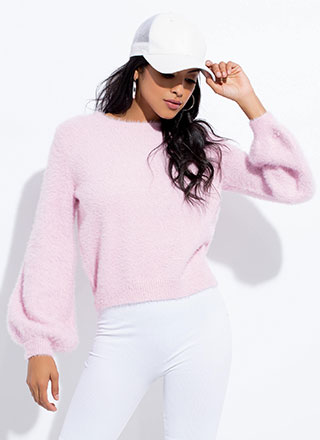 Take It Or Sleeve It Fuzzy Knit Sweater