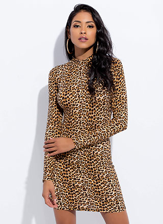 Living In Leopard Mockneck Minidress