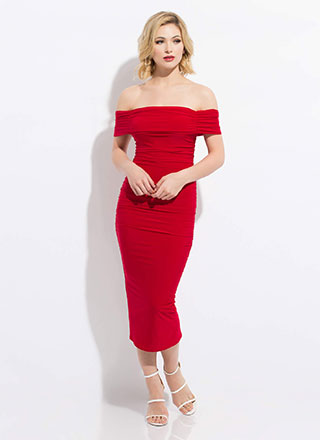 Shirr Bet Ruched Off-Shoulder Dress
