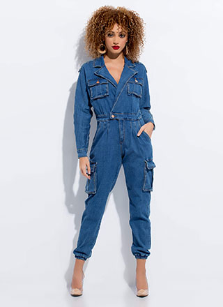 Moto Or Cargo Denim Jogger Jumpsuit