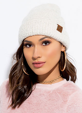 Heads Up Fuzzy Rib Knit Beanie