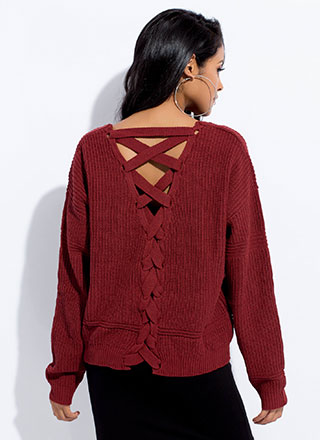 It's Your Turn Lace-Back Knit Sweater