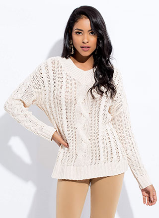 Twists And Turns Cable Knit Sweater