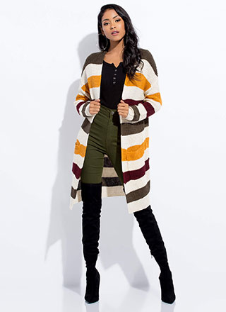 In Knit To Win It Long Striped Cardigan
