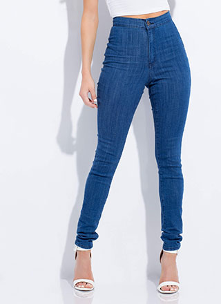 On A High-Waisted Brushed Skinny Jeans