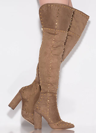 Studded Girl Chunky Thigh-High Boots