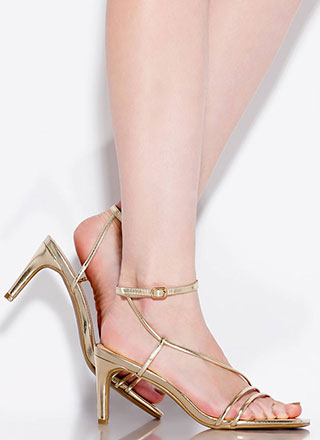 Strappy And You Know It Metallic Heels