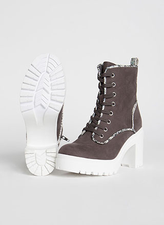 Block And Roll Chunky Lace-Up Booties