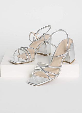 Forever Strappy Chunky Metallic Heels