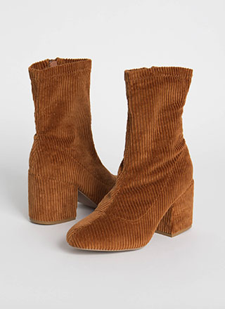 Block Star Chunky Corduroy Booties