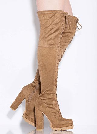 One True Lug Lace-Up Thigh-High Boots